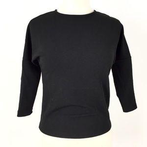 Bar III Three-quarter-sleeve Crepe Top Black